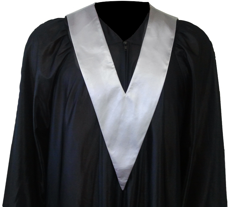 Graduation Gown + Student-Tie in colour silver | Square Caps®