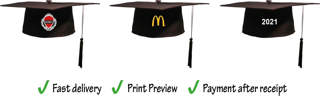 Graduation Hats with Print